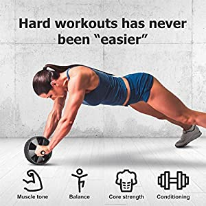 RUBEX Abs Roller Workout Equipment - for Home Gym Full Body Fitness Training, Core Exercise Equipment for muscles strength builder with Ab Wheel Machine Roller and foam handles for men, women, kids