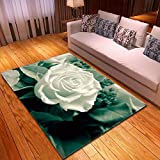CMYKYUH Alfombra Salon Flores Blancas 160 x 230 cm Alfombra De...