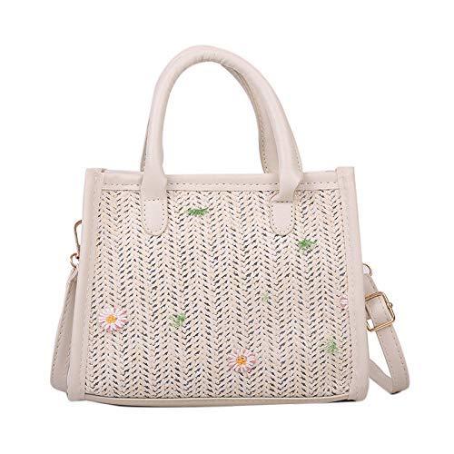 Bolso de hombro de paja para mujer, de verano, de playa, de tejido hecho a mano, color caqui ggsm (color: blanco)