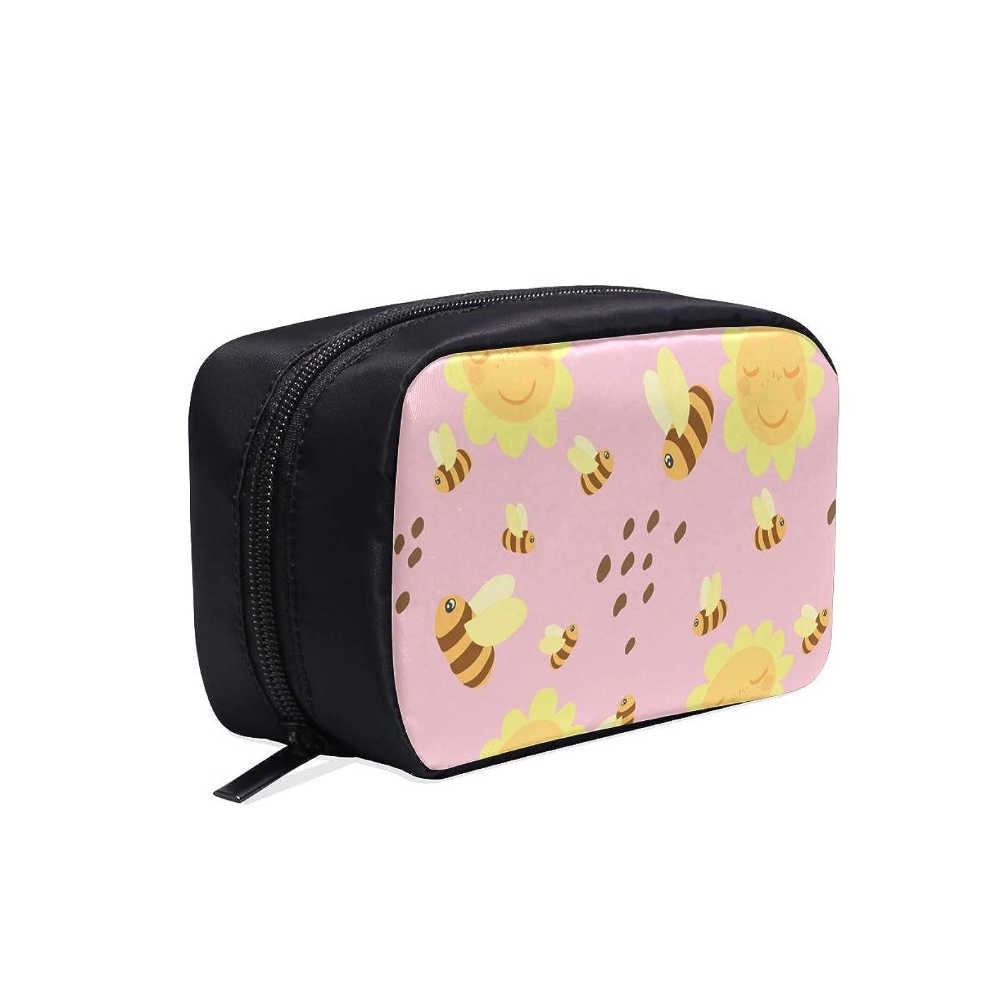 農業エイズコミットGGSXD メイクポーチ かわいいミツバチやひまわり ボックス コスメ収納 化粧品収納ケース 大容量 収納 化粧品入れ 化粧バッグ 旅行用 メイクブラシバッグ 化粧箱 持ち運び便利 プロ用