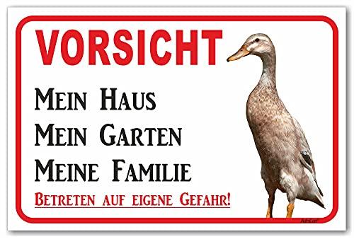 AdriLeo Schild - Vorsicht Indische Laufente - Mein Haus - (20x30cm) / Achtung Ente