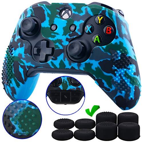 9CDeer 1 Pezzo di Stampa con Personalizzato Silicone Copertina Pelle Manica Caso + 8 Thumb Grips per Controller Xbox One/S/X Camouflage blu Compatibile con Adattatore Stereo per Cuffie Ufficiale