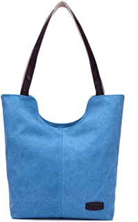 Korowa Women Solid Color Canvas Handbags Casual Shoulder Bags Tote Bags for Tablets Cellphones blue