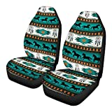GIFTPUZZ Aztec Car Seat Covers Front Seats Only Native Pattern Horses Stripe Turquoise Vehicle Seat Protector Saddle Blanket Universal Bucket Seat Cover Fit for Cars & Vans