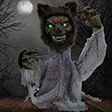 Haunted Hill Farm HHFJWOLF-1LSA 21 in. Groundbreaker Animotronic Werewolf, Indoor/Outdoor Halloween Decoration, Multi