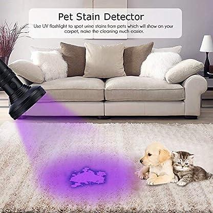 WOWTOY UV Torch Light, 100 LED UV Black Light Flashlight Pet Dog Cat Urine Stains Scorpion Bed Bug Detector Light, Super Bright Blacklight Detector for Pet Stains, Carpet, Floor 7