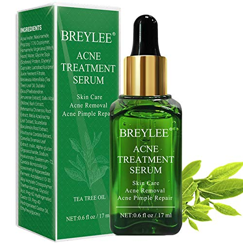 Acne Treatment Serum, BREYLEE Tea Tree Clear Skin Serum for Clearing Severe Acne, Breakout, Remove Pimple and Repair Skin (17ml)