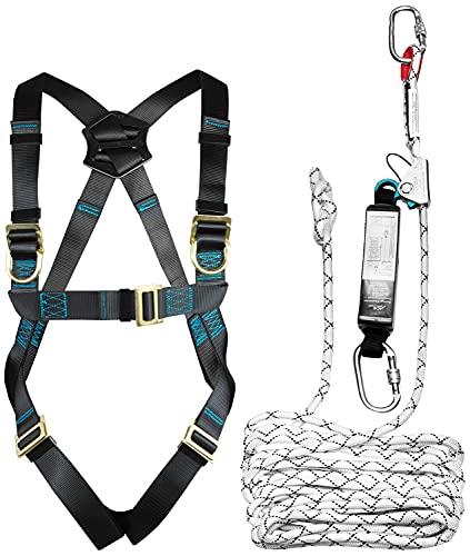 ACE Fallschutz-Auffanggurt - 1-Punkt-Auffanggeschirr zur Absturzsicherung - mit Auffanggerät - EN 353/361 - bis 100 kg