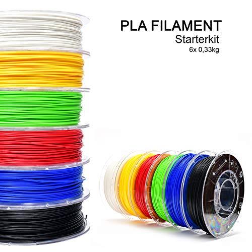 storeHD-Filaments PLA Filament Starterkit Weiß, Rot, Gelb, Grün, Blau & Schwarz (6 x 0,33 kg) 1.75mm, PLA Filament in Premium Qualität für 3D-Drucker – Hergestellt in Europa