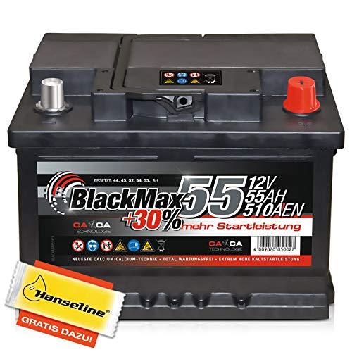 BlackMax Autobatterie 12V 60Ah PKW Batterie statt 63Ah 61Ah 55Ah 50Ah inklusive Polfett
