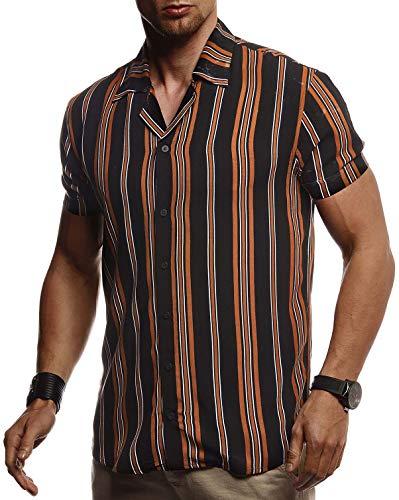 Leif Nelson Herren Hemd Kurzarm Oversize Kentkragen Stylisches Männer Hawaiihemd Stretch Kurzarmhemd Jungen Basic Shirt Freizeit Urlaub Sommerhemd Freizeithemd LN3695 Schwarz-Camel XX-Large