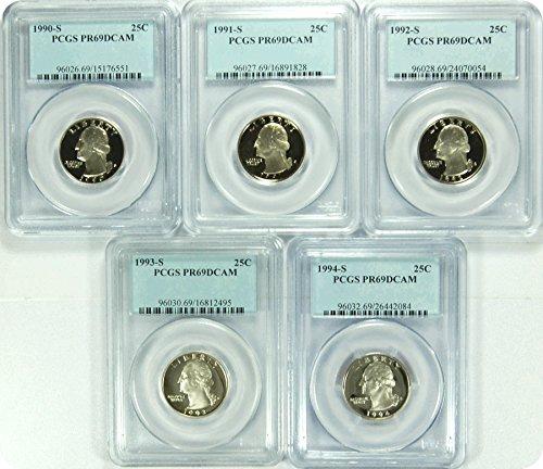 """0 S 1990-94S Date Run of """"5"""" SET PCGS PR69DCAM Washington Quarters Quarter DCAM PCGS PR-69"""