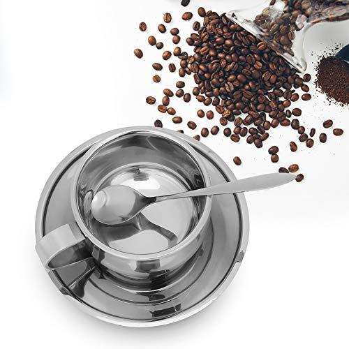 Kaffee Tee Geschenksets, 3 Stück Anti-Verbrühungs-Kaffeetassenbecher aus Edelstahl Espressotassen mit Löffel Untertasse Set Geschirr
