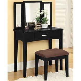 247SHOPATHOME Potterville Black Finish Vanity Table Set