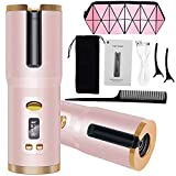 SUMMAO Cordless Hair Curler Automatic Curling Iron Auto Rotating Ceramic Barrel Hair Curler with 6 Temperature Timer Settings Portable USB Rechargeable Wave Styler Curling Wand for Hair Styling Pink