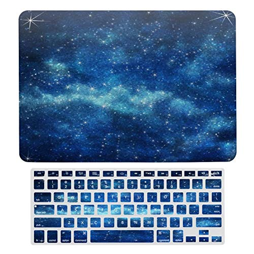 Case for MacBook Blue Space Galaxy Constellation Plastic Pattern Hard Case & Keyboard Cover Only Compatible with MacBook New Pro 13 Touch (models: A1706、A1989、 A2159)