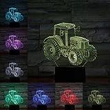 3D USB Coche Motocicleta Luz Tractor de arena Globo de aire caliente Globo Luz nocturna Toque remoto Dormitorio Escritorio Decoración Lámpara Luz Panel acrílico