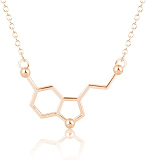Silver Serotonin Molecule Pendant Necklace,Organic Chemistry Jewelry for Science Lovers,Gift for a Science Student