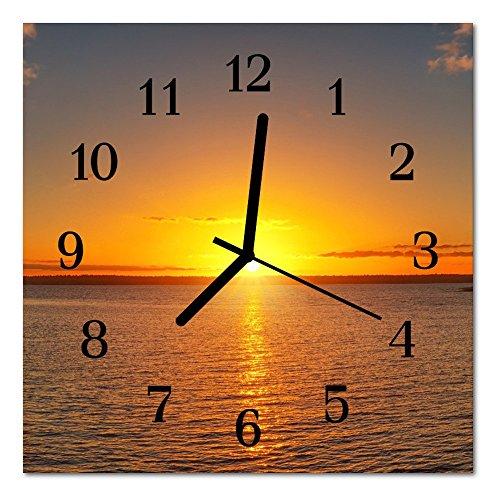 DekoGlas Glasuhr 'Sonnenuntergang orange' Uhr aus Acrylglas, eckig große Motiv Wanduhr 30x30 cm, lautlos für Wohnzimmer & Küche