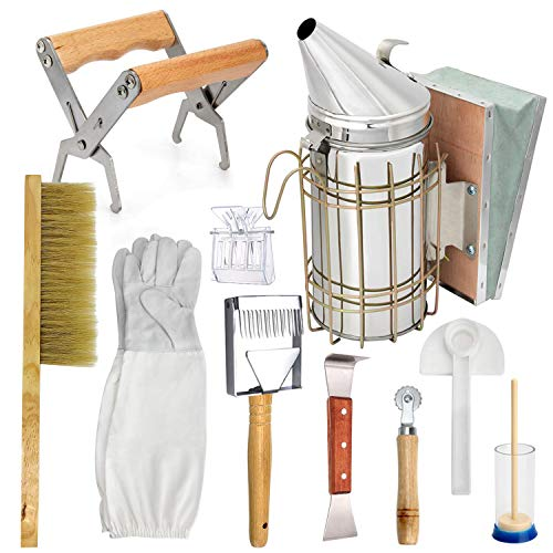 LTLR Beekeeping Honey Tools Starter Kit Set of 10 Hive Smoker Equipment Supplies
