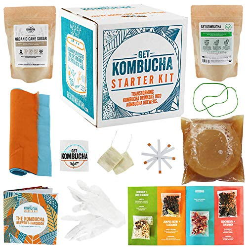 Get Kombucha Kombucha Starter Kit, Brewing Bundle for 5 gallons of Organic Tea, Vegan, GMO, and Gluten-Free Kombucha