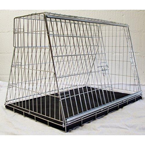 Jaula de viaje para perros, 86 cm de ancho, lados inclinados para adaptarse al maletero. Para coches familiares y con portón trasero.
