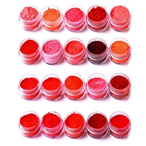 Migavenn 20 PCS Assortiment Couleur Naturel Mica Pigment Poudre Maquillage Teinture Ensemble pour Savon Faire Des Ongles Bain Bombes Rouge À Lèvres Ombre À Paupières