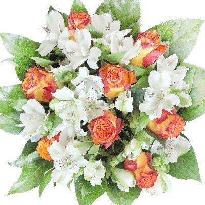 Blumenstrauß mit gelb-roten Rosen und Alstromerien