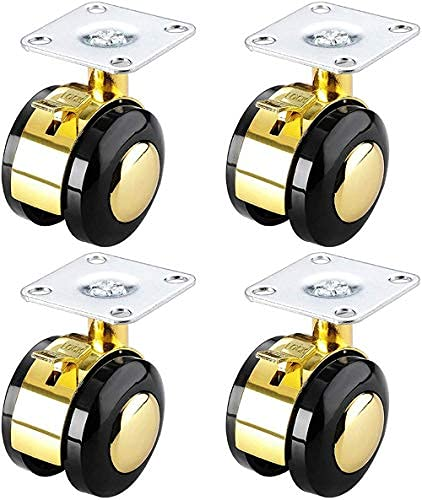 Castor Wheels 4x Furniture Castor Wheels Nylon Swivel Castor Hjul med broms 2 tums ersättning Caster Alloy Dekorativa Wheel-Gold_M8 (Color : Gold, Size : Mounting plate)