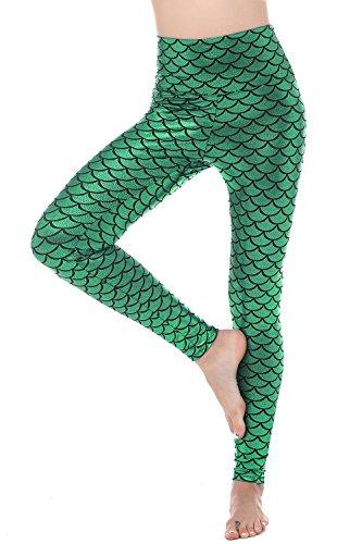Women Sexy Mermaid Fish Scale Hologram Stretch Soft Shine Leggings (X-Large, Green (High Waist))