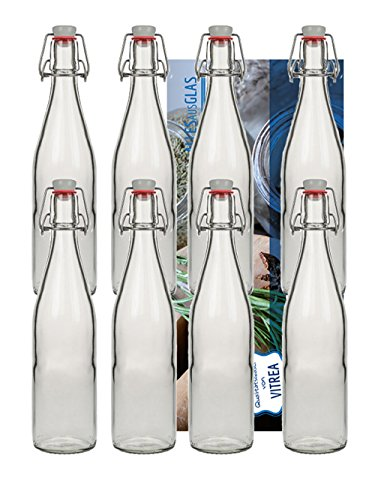 hocz 6er Set Bügelflaschen Bügelflasche Glasflaschen 500ml Typ A mit Bügelverschluss zum Selbstbefüllen