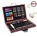 COSTWAY 80 Piece Deluxe Art Set, Art School Stationery Creativity Drawing Kit for Beginners and Junior...