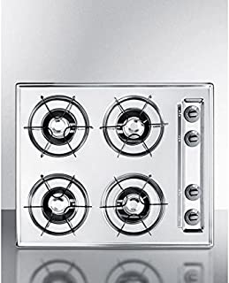 ZNL033 24 wide gas cooktop in brushed chrome, with four burners and gas spark ignition; replaces ZTL033 by Summit