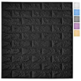 Art3d 11-Pack Peel and Stick 3D Wall Panels for Interior Wall Decor, Self-Adhesive Foam Brick Wallpaper in Black, Covers 64 Sq.Ft
