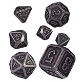 Set de Dados de rol Polyhedral Dice Set, D&D Juego de Dados de Metal Zinc Aleación para Juegos de rol RPG DND Dragones y Mazmorras Juego de Mesa D4 D6 D8 D10 D12 D20 (Barrel Nickel Plating)
