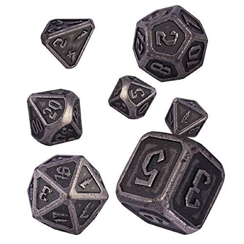 Schleuder Set di Dadi DND in Metallo 7 Pezzi Dice D&D, Poliedrici Dadi da Gioco di Ruolo, Dungeons & Dragons, Rpg, Gioco da Tavolo, Insegnamento della Matematica (Barrel Nickel Plating)