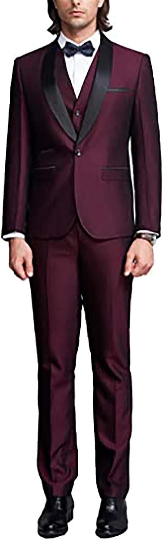 Mens 3 Pieces Shawl Lapel Prom Wedding Suits One Button Groom Tuxedos (Blazer+Vest+Pants)