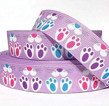 Grosgrain Ribbon 7/8  Easter Bunny Rabbit Paw Prints Purple Ea7 Printed Per Yard