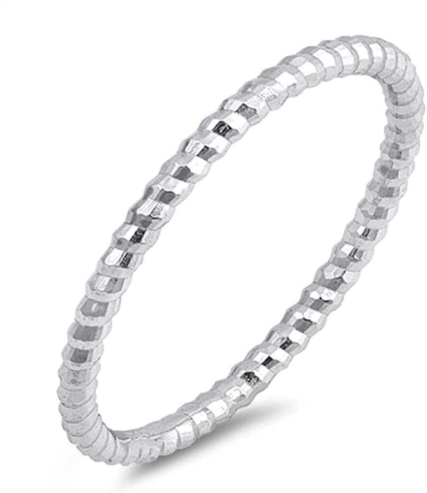 Sterling Silver Thin 2021new shipping free Diamond Topics on TV Cut Band Ribbed Stackable Size Ring