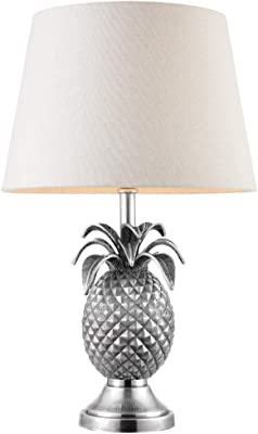 2 Pack | 60W E27 | 330mm Tall Unique Pineapple Table Lamp Light | Textured Pewter Base ONLY | Modern Quirky Trendy Bedroom Bedside Sideboard Office Desk Reading Feature Lighting | LED