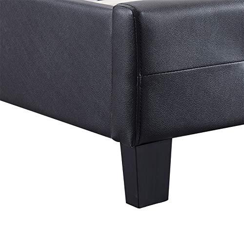 IDIMEX Lit Double pour Adulte Josy Couchage 140 x 190 cm avec sommier 2 Places / 2 Personnes, tête et Pied de lit capitonnés avec Strass, revêtement synthétique Noir