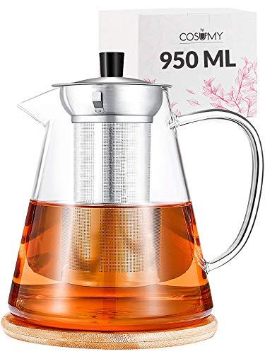 Tetera de Cristal con Infusor de Acero Inoxidable y Posavasos - 950 ml - Apta para Lavavajillas - Resistente al Calor