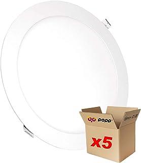 POPP® juegos de 5 y 10 unidad Downlight LED Placa LED redondo 3000K 4000K luz blanca [Clase de eficiencia energética A+] (9 WATIOS X5, 3000K)