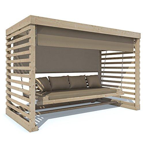 Serina Hollywoodschaukel Tiffany Holz Gartenschaukel Schaukelbank Gartenmöbel 4-Sitzer (Auflage in beige)