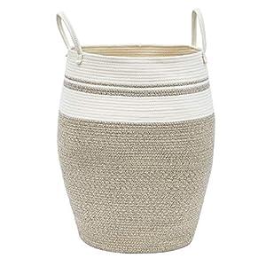 Infibay Tall Laundry Hamper for Bathroom or Bedroom Corner, Large Basket Laundry Hamper with A Braided Trim Design, Coiled Laundry Hamper Basket