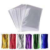 200 Pack Cello Treat Bags with 6 Mix Colors Twist Ties Perfect forLollipop Candy Cake Pop Chocolate...