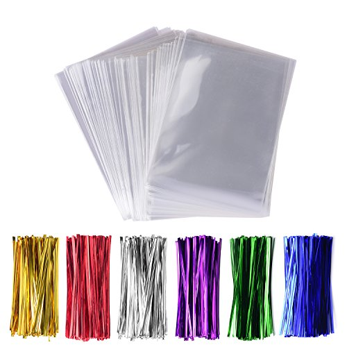 300 Pack Cello Treat Bags with 6 Mix Colors Twist Ties Perfect forLollipop Candy Cake Pop Chocolate Cookie Wrapping Buffet