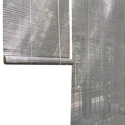 JLXJ Rollo Verdunklungs Äußerer Grauer Bambus Rollo mit Haken, Fenster tür Lichtfilterung Roll Up Blind für Pergola Veranda, 105cm/125cm/145cm/155cm Breit (Size : 125×140cm(49.2