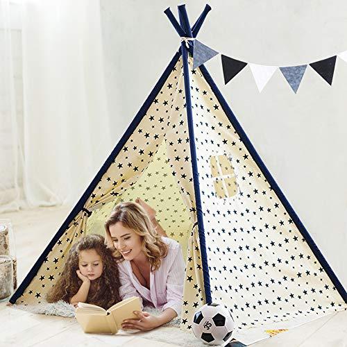 YOLEO Tipi Spielzelt für Kinder Spielzelt Kinderzelt Indianerzelt für drinnen/draußen - mit Fenster & Aufbewahrungstasche - Fünfeckige Stabilität - rutschfest - 100% Baumwolle (155cm hoch)
