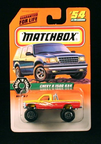 Matchbox Chevy K-1500 4x4 Yellow/RED Rough 'N Tough Series 7 1998 Basic Die-Cast Vehicle (#54 of 75)